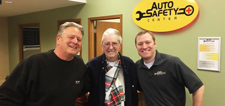 Ralph Schmidt, Roger Berth, Joe Valind. Past and present proprietors of Auto Safety Center in West Bend, WI